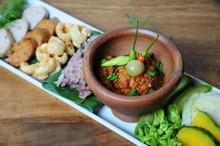 Tradition Northern Thai Food. Thai Cuisine Nam Prik Or Chili Sauce, Thai Sausages , Deep Fried Pork Skin. Thai Food Concept