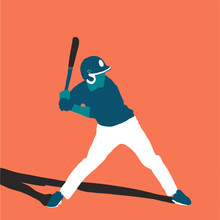 Baseball Player Betterr On Field. Vector Flat Illustration