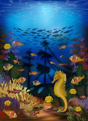 Fototapeta na wymiar Underwater wallpaper with sea horse and sunken ship, vector illustration