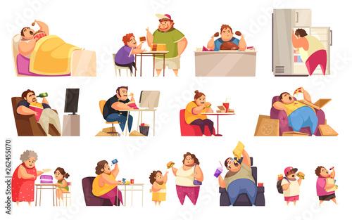 Gluttony Icons Set Canvas Print