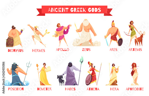 Ancient Greek Gods Set Wallpaper Mural