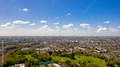 Foto Aerial view of Nantes city skyline in Loire Atlantique, France