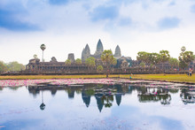 Famous Angkor Wat Temple Complex Near Siem Reap In Cambodia.