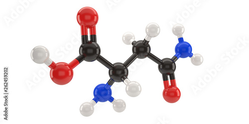 Asparagine molecule structure 3d illustration with clipping path Wallpaper Mural