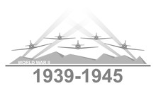 World War II 1939-1945 Black And White Vector Illustration.