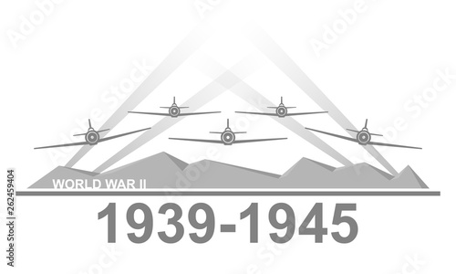 Papel de parede  World War II 1939-1945 black and white vector illustration.