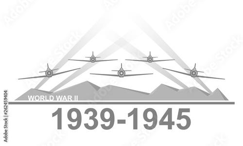 Fotografia  World War II 1939-1945 black and white vector illustration.