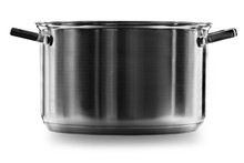 Stainless Steel Cooking Pot Over White Background With Clipping Path