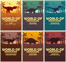 Posters Collection World Of Dinosaurs. Prehistoric World. Jurassic Period.