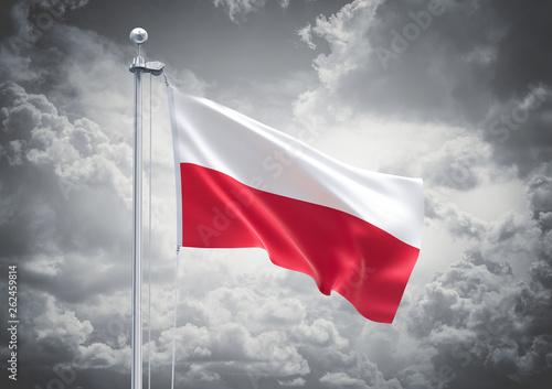 Obraz 3D Rendering of Poland Flag is Waving in the Sky - 3d illustration - fototapety do salonu