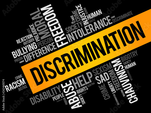 Discrimination word cloud collage, social concept background Canvas Print
