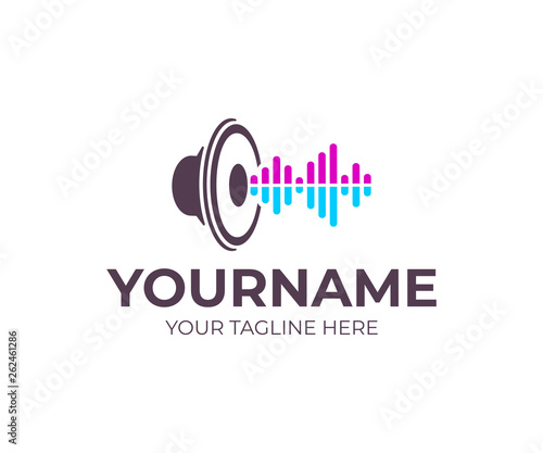 music sound speaker with sound waves logo design musical woofer subwoofer and loudspeaker vector design and illustration buy this stock vector and explore similar vectors at adobe stock adobe stock music sound speaker with sound waves