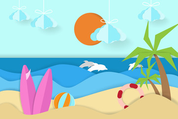 Fototapeta na wymiar coastal panorama with dolphin views in paper art style