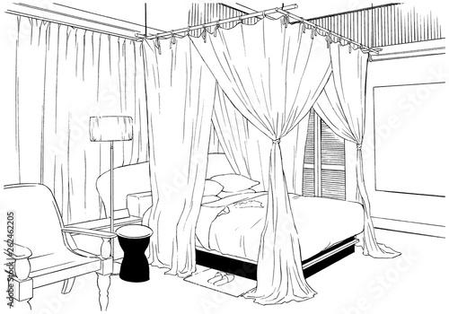 漫画風ペン画イラスト リゾートホテル - 262462205