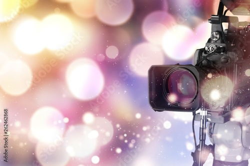Photo  Professional video camera  on background
