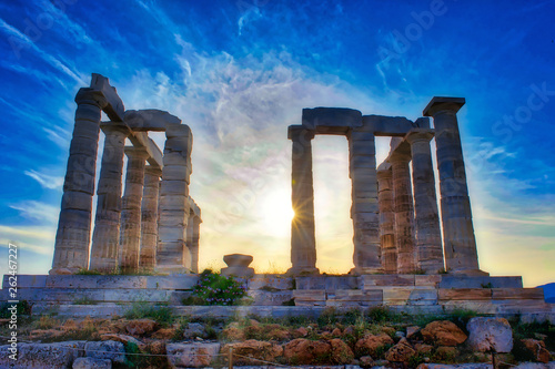 The Temple of Poseidon at Sounion, Greece, at sunset