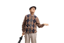 Elderly Man With An Umbrella C...
