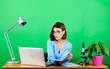Leinwanddruck Bild - Multitasking. secretary at workplace read notes. chemist biologist with microscope on table. digital science. businesswoman. data and information. Business woman. woman work in office on laptop