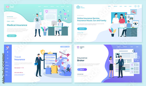 Online and travel insurance set, online page with text vector. House car and family safety, protection of building and possessions, broker with client. Website or webpage template, landing page flat