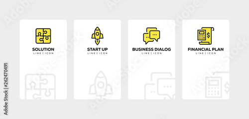 Fototapety, obrazy: BUSINESS PLAN LINE ICON SET