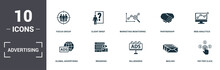 Advertising Set Icons Collection. Includes Simple Elements Such As Focus Group, Client Brief, Marketing Monitoring, Partnership, Web Analytics, Branding And Billboards Premium Icons