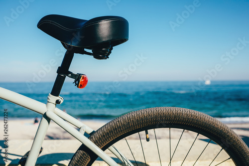 Aluminium Prints Bicycle Close-up of bicycle seat and wheel