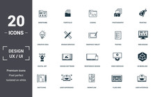 Design Ui And Ux Set Icons Collection. Includes Simple Elements Such As Wireframe, Portfolio, Coding, Photography, Painting, Design Software And Responsive Design Premium Icons