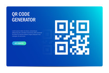 QR Code Generate Concept. Template For Cloud Services. Web Site Design On Blue Background.