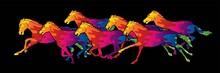 Seven Horses Running Cartoon G...
