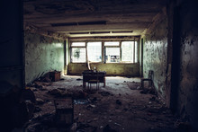 Abandoned Ruined Industrial Building Room Inside Interior, Dark Dirty Grunge And Creepy Atmosphere