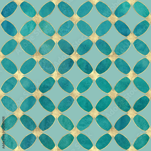 Seamless watercolour teal turquoise gold glitter abstract texture.