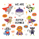 Fototapeta Fototapety na ścianę do pokoju dziecięcego - Big set of cute animal superheroes, with quote We are superheroes. Isolated objects on white background. Hand drawn vector illustration. Scandinavian style flat design. Concept for children print.