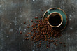 Coffee cup and coffee beans on vintage background