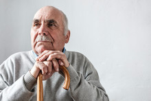 Grey Haired Elderly Man With M...
