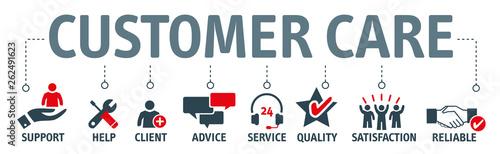 Fotografía  Banner Customer Care Vector Illustration