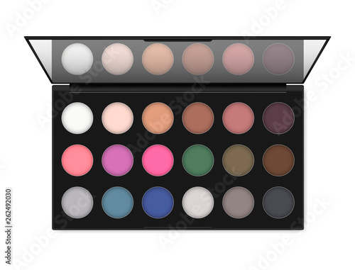 Obraz na plátne Professional make-up eyeshadow palette isolated on white background, realistic illustration