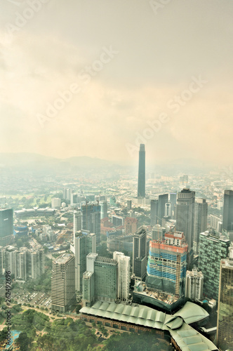 Kuala Lumpur cityscape from the Petronas Towers, Malaysia Canvas Print