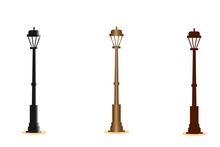 Vector Illustration Of Old City Lamps In Cartoon Style