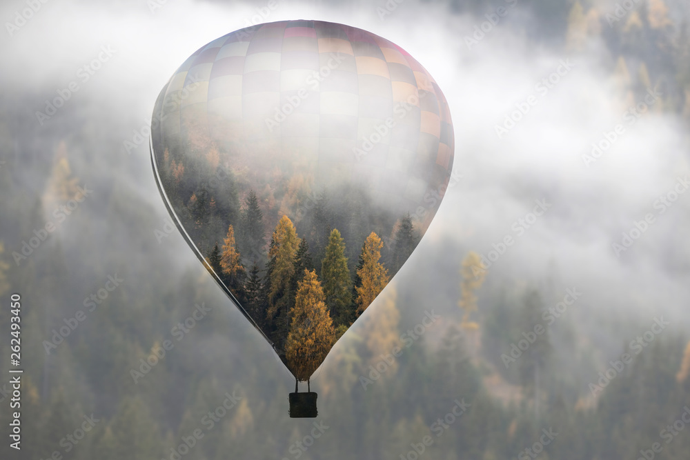 Fototapety, obrazy: Double exposure image of hot air balloon and misty forest. Freedom, wanderlust, travel concept.