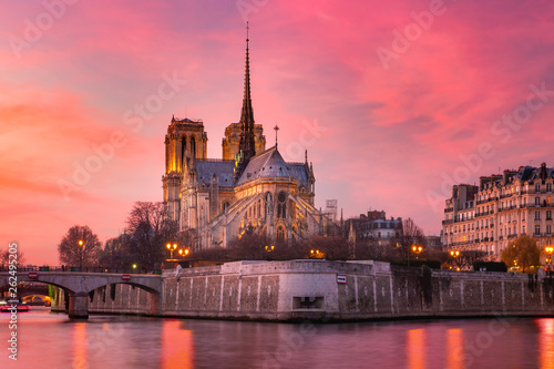 Obraz Cathedral of Notre Dame de Paris at sunset, France - fototapety do salonu