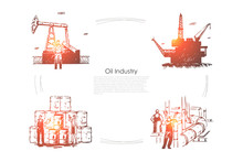 Gas Production Plant, Workers At Pipeline, Industrial Equipment, Drilling Platform, Rig, Fuel Pump Banner Template