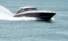 High-end Cabin Cruiser Speeding Of The Coast Of Southeast Florida