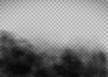 Black Smoke Texture On A Transparent Background. Template Exhaust Gas.