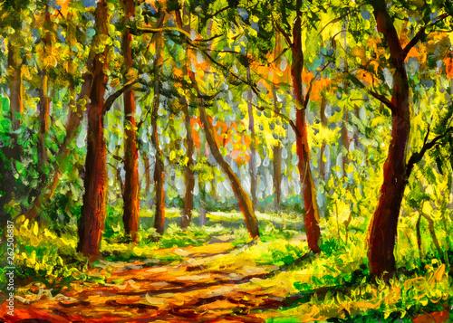 Foto auf Leinwand Gelb Original expressionism oil painting sunny spring forest park landscape, beautiful trees shadows on ground canvas art. Palette knife artwork. Impressionism. Art.