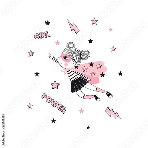 Fotomural Little cartoon supergirl character illustration