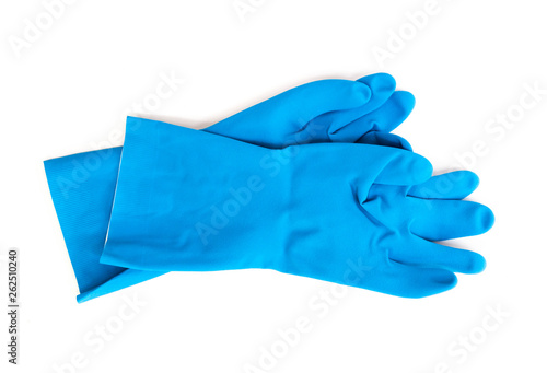 blue rubber gloves for cleaning on white background, workhouse concept Canvas Print