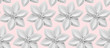 White 3D paper flowers on light pink background.