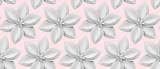 Fototapeta Abstract - White 3D paper flowers on light pink background.