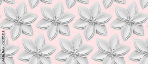 White 3D paper flowers on light pink background. - 262512425
