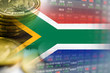 canvas print picture - Stock market investment trading financial, coin and South Africa flag or Forex for analyze profit finance business trend data background.